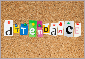 Cork board with pinned multicolor alphabet letters spelling out attendance