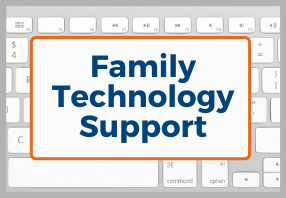 Family technology support with keyboard background