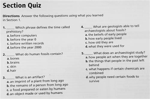 Chapter 1 Section 1 Multiple Choice