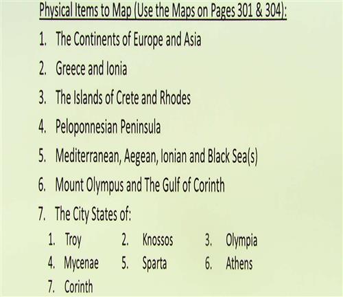 Ancient Greece Blank Map List