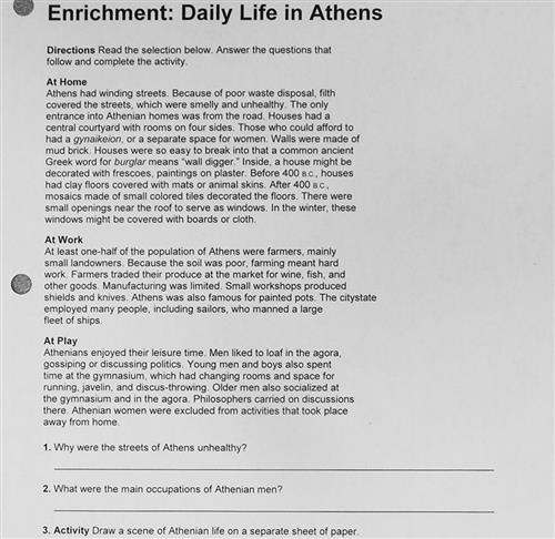 Enrichment: Daily Life in Athens