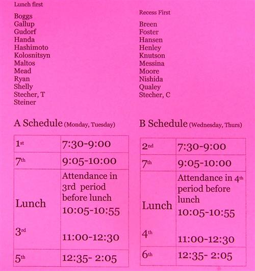 Pink A and B Schedule