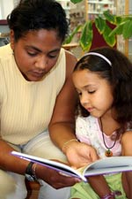 parent reading to a student