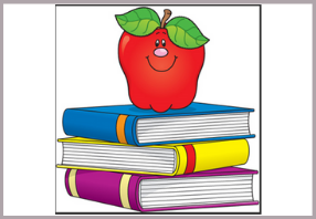 Cartoon stack of three books with an apple on top with a smiling face