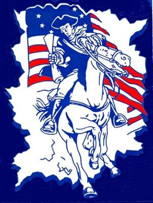 Picture of our school mascot, a Patriot on a horse.