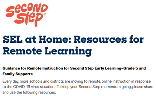 Second Step Home Resources