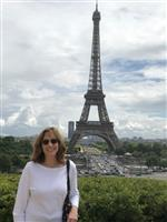 Mrs. Lundberg in front of the Eiffel Tower