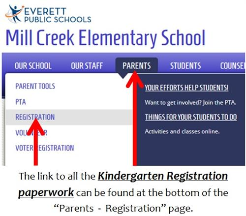 Link for finding all the Kindergarten Registration paperwork