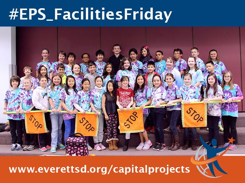 Facilities Friday showing students holding their STOP patrol signs.