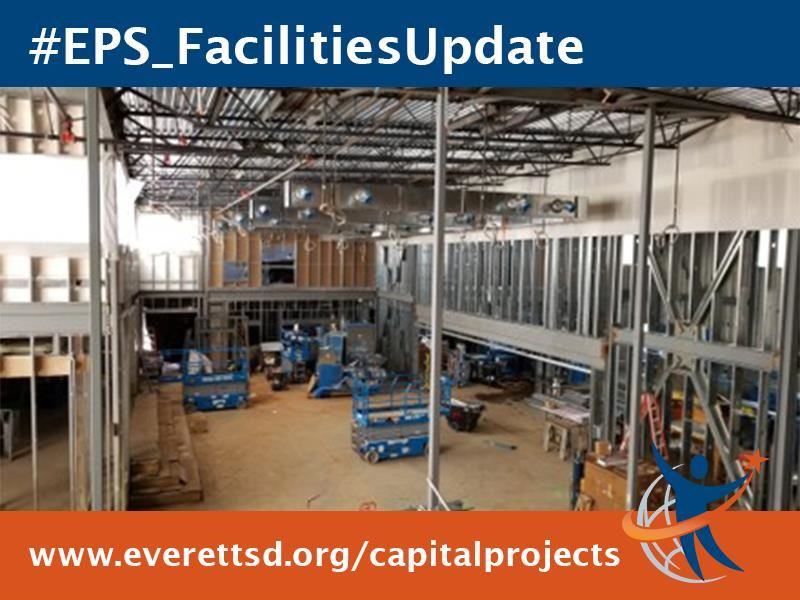 Cafeteria/gym area is busy with interior wall framing, insulation and mechanical rough-in