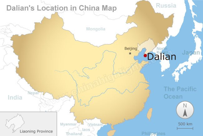 Map of China with location of Dalian