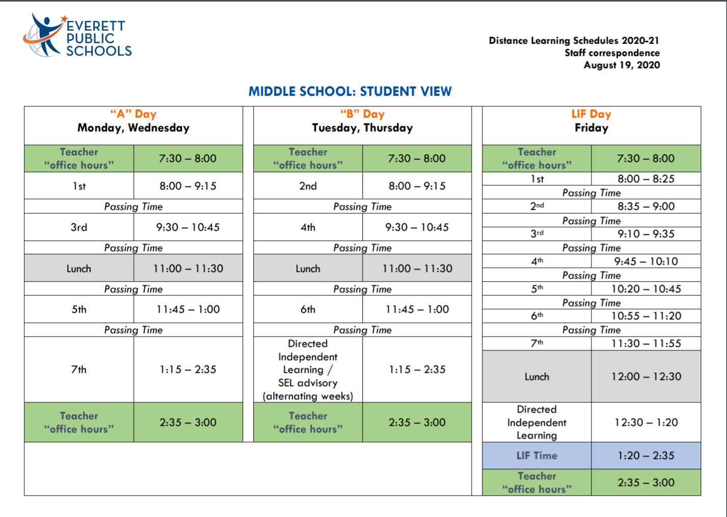Middle School Daily Schedule