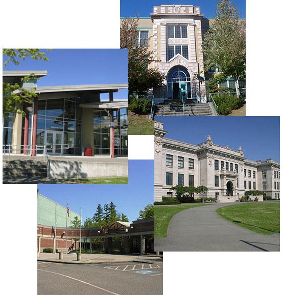 montage of four high schools