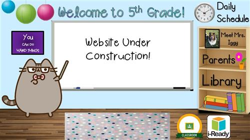 "A picture of a classroom with a cat pointing to a whiteboard, on which is written ""Website Under Construction!"""