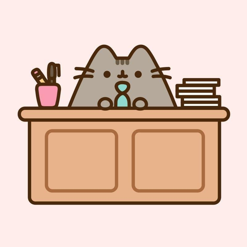 A cartoon cat wearing a necktie is sitting at a desk. On the desk is a cup with a pen and pencil.