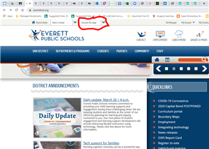 District web page with the translate this page button circled