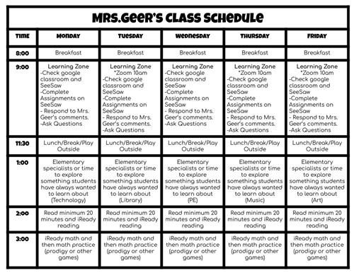 Student Learning Schedule