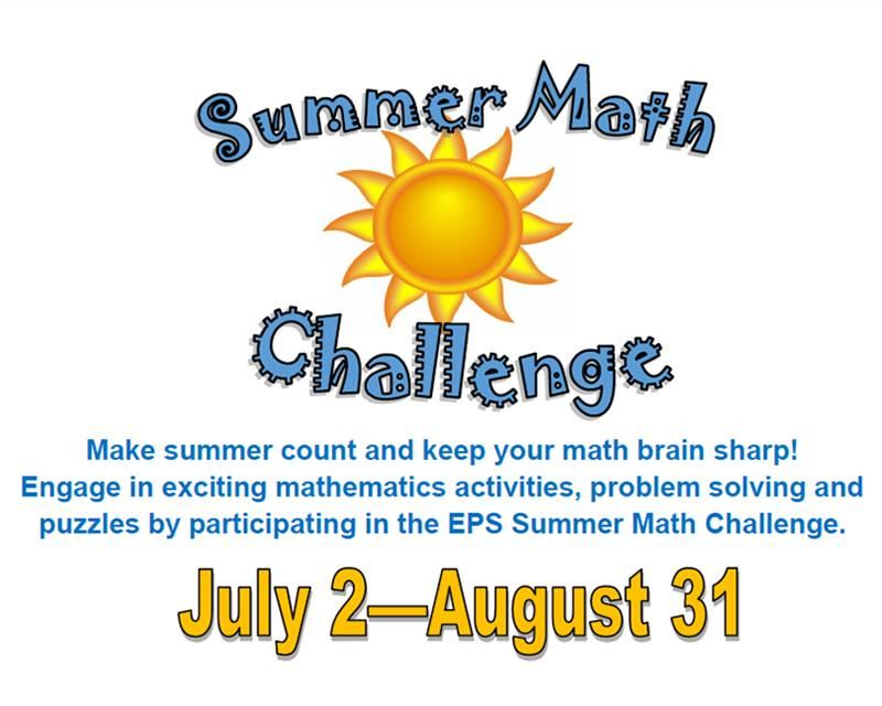 Summer Math Challenge is from July 2 though August 31