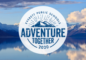 adventure together logo with snow topped mountain in background