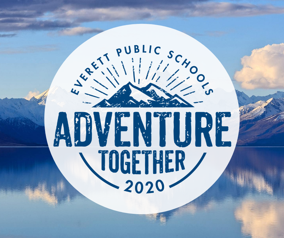 Adventure together logo with a mountain scene