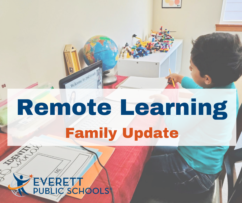 remote learning family update with background of student working at his desk