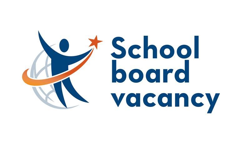 School board vacancy sign with district logo