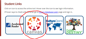 Canvas Tile on Student Links Webpage