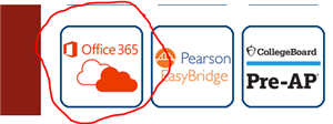 Office 365 link on Student Links Webpage