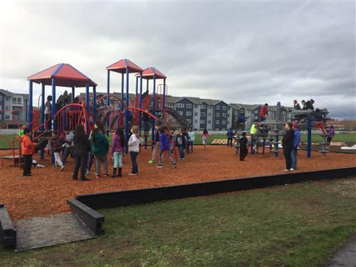 Students on new playground